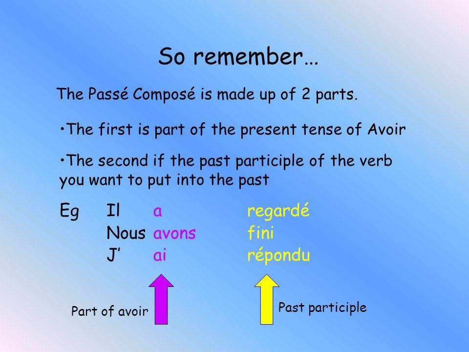 Eg Il a regardé Nousavons fini Jai répondu Part of avoir Past participle So remember… The Passé Composé is made up of 2 parts.