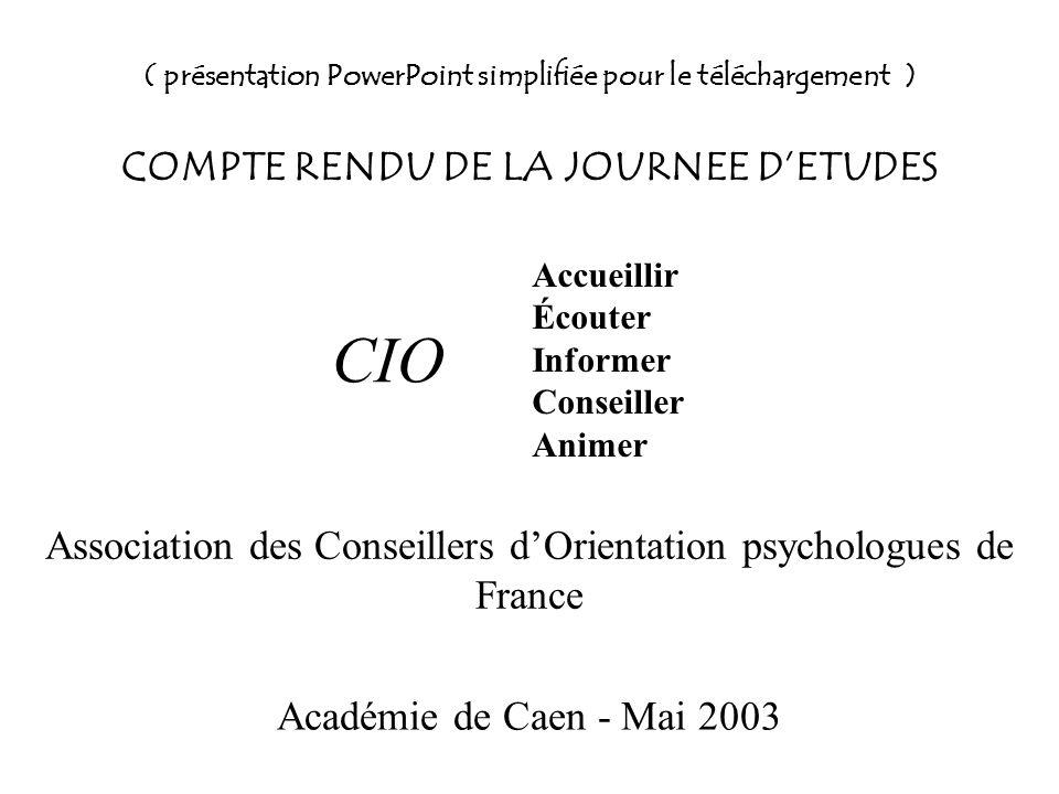 ( présentation PowerPoint simplifiée pour le téléchargement ) COMPTE RENDU DE LA JOURNEE DETUDES Association des Conseillers dOrientation psychologues