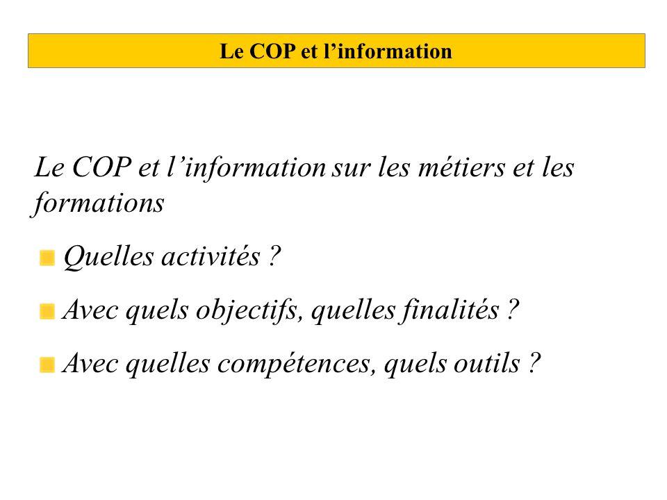 Le COP et linformation Le COP et linformation sur les métiers et les formations Quelles activités ? Avec quels objectifs, quelles finalités ? Avec que