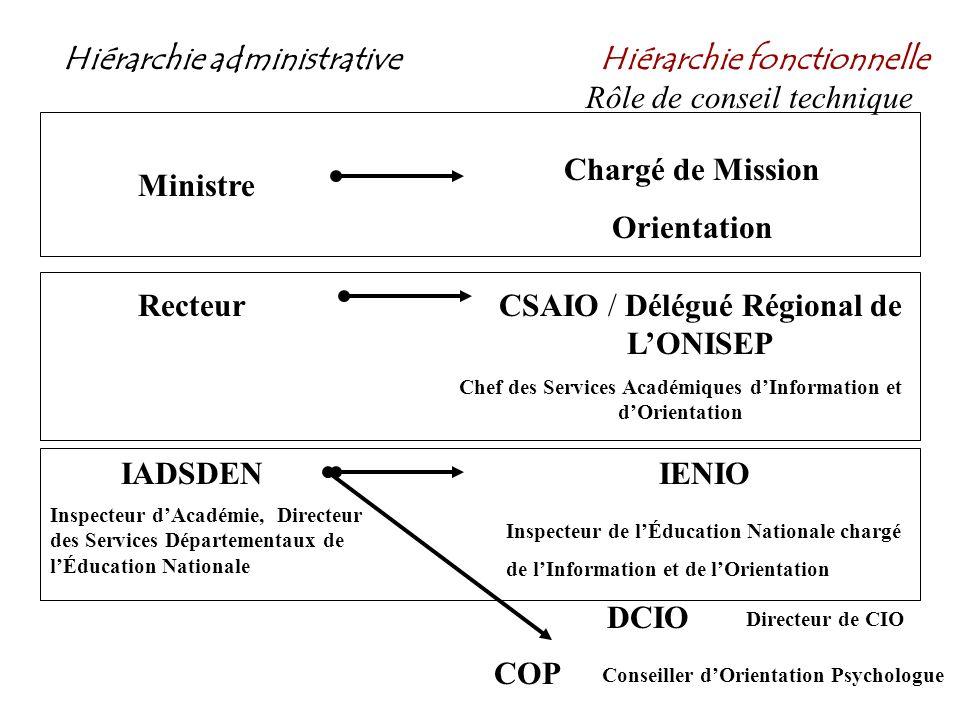 Hiérarchie administrativeHiérarchie fonctionnelle Rôle de conseil technique Ministre Chargé de Mission Orientation RecteurCSAIO / Délégué Régional de