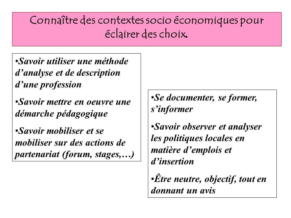 Connaître des contextes socio économiques pour éclairer des choix. Savoir utiliser une méthode danalyse et de description dune profession Savoir mettr
