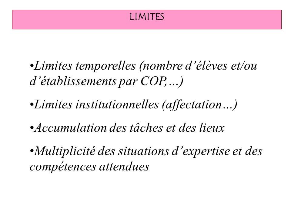 LIMITES Limites temporelles (nombre délèves et/ou détablissements par COP,…) Limites institutionnelles (affectation…) Accumulation des tâches et des l
