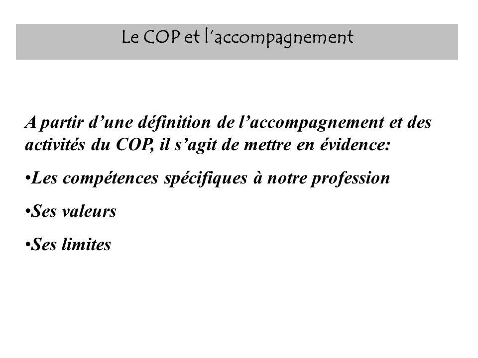 Le COP et laccompagnement A partir dune définition de laccompagnement et des activités du COP, il sagit de mettre en évidence: Les compétences spécifi