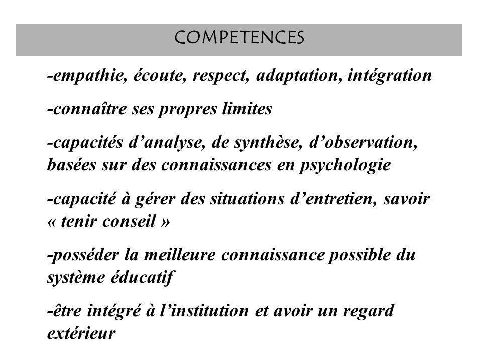 -empathie, écoute, respect, adaptation, intégration -connaître ses propres limites -capacités danalyse, de synthèse, dobservation, basées sur des conn