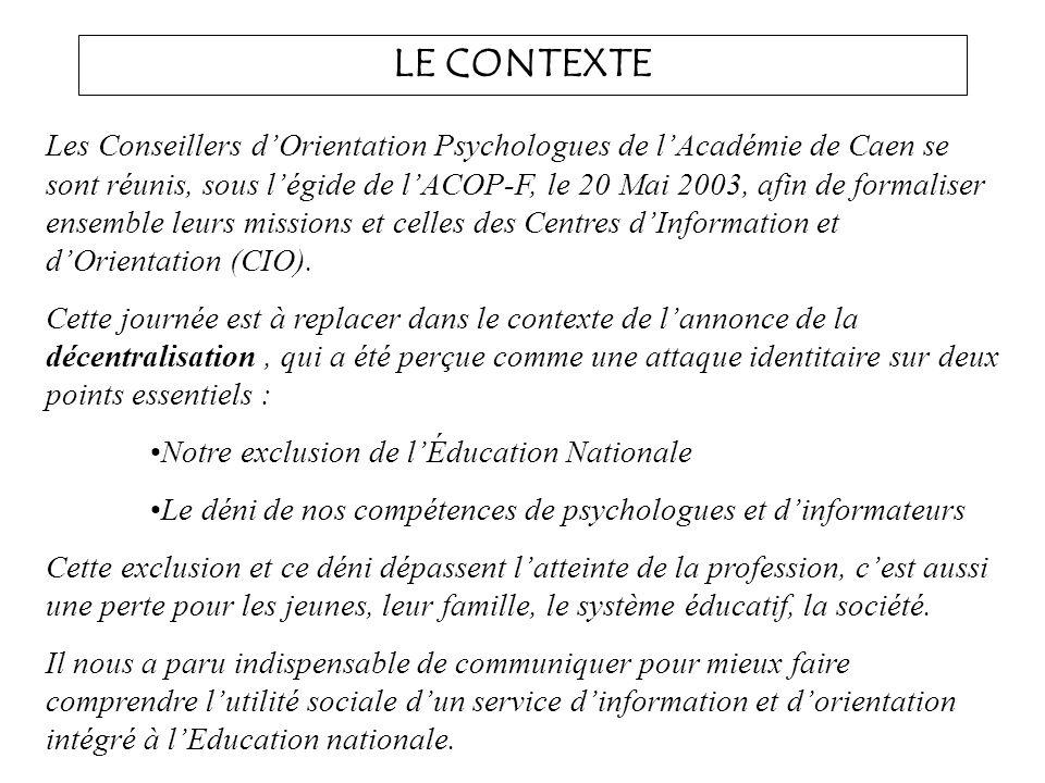 LE CONTEXTE Les Conseillers dOrientation Psychologues de lAcadémie de Caen se sont réunis, sous légide de lACOP-F, le 20 Mai 2003, afin de formaliser