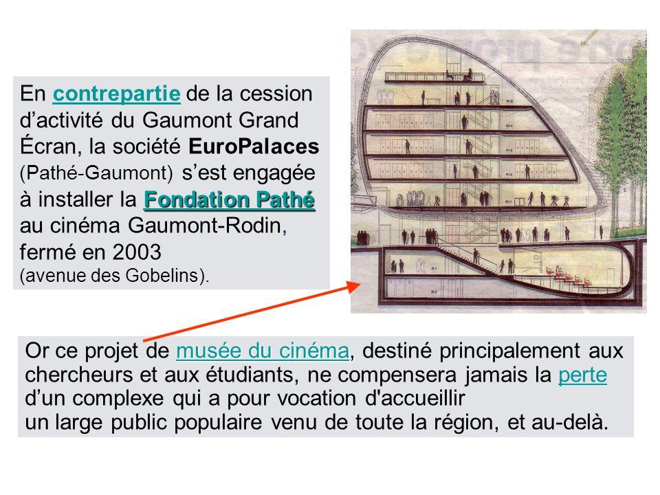 Fondation Pathé Fondation Pathé En contrepartie de la cession dactivité du Gaumont Grand Écran, la société EuroPalaces (Pathé-Gaumont) sest engagée à