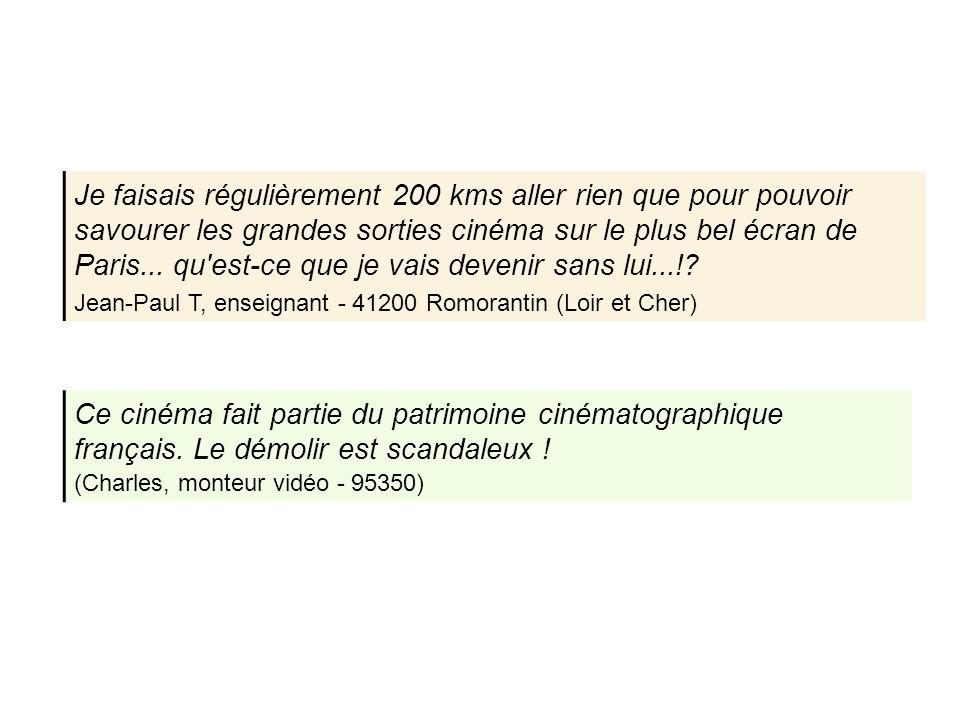 Je faisais régulièrement 200 kms aller rien que pour pouvoir savourer les grandes sorties cinéma sur le plus bel écran de Paris... qu'est-ce que je va