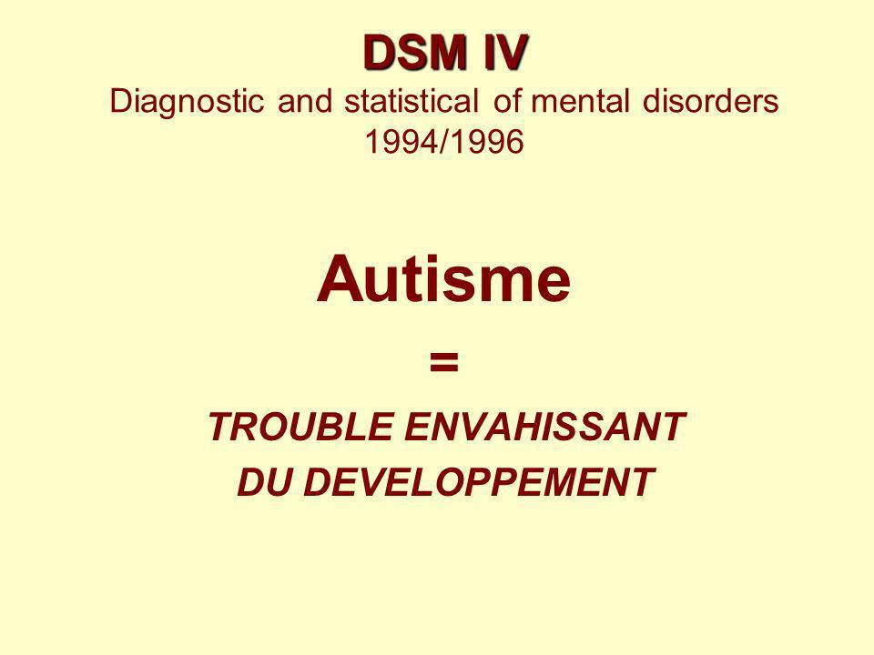 DSM IV DSM IV Diagnostic and statistical of mental disorders 1994/1996 Autisme = TROUBLE ENVAHISSANT DU DEVELOPPEMENT
