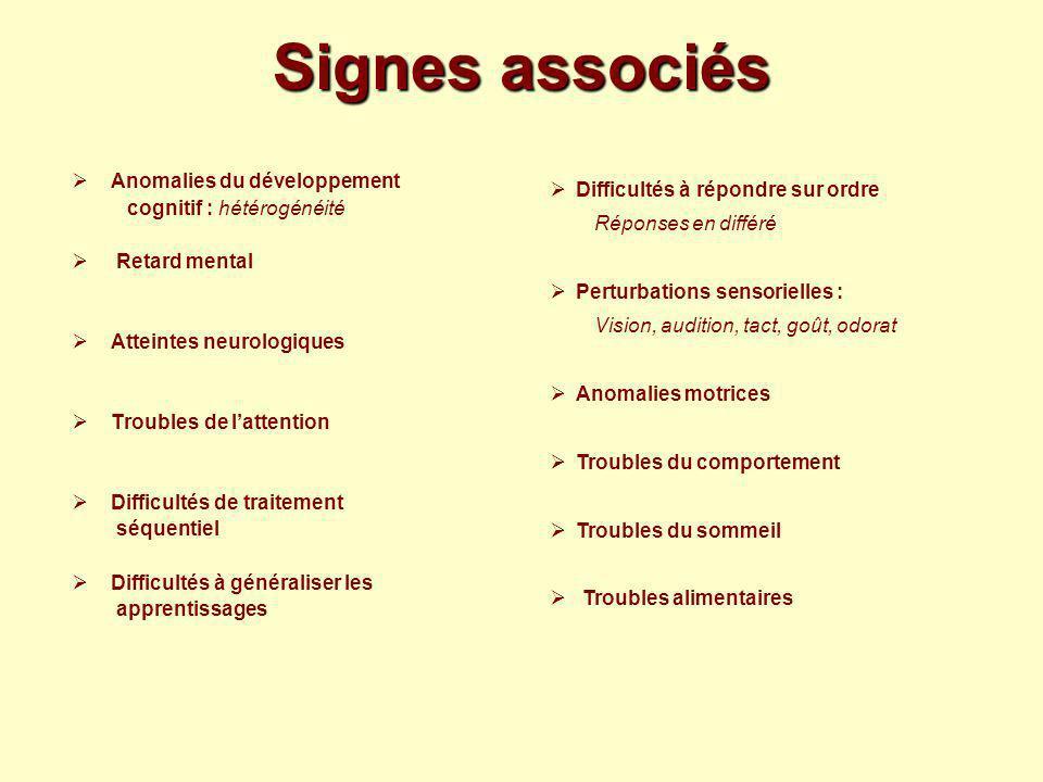 Signes associés Anomalies du développement cognitif : hétérogénéité Retard mental Atteintes neurologiques Troubles de lattention Difficultés de traite