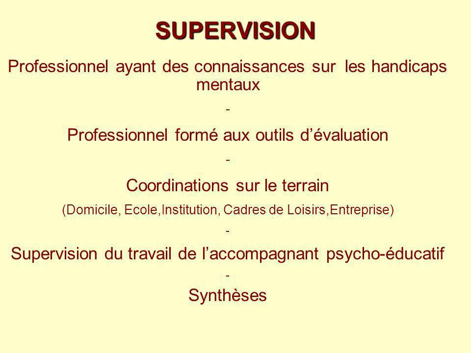 SUPERVISION Professionnel ayant des connaissances sur les handicaps mentaux - Professionnel formé aux outils dévaluation - Coordinations sur le terrai