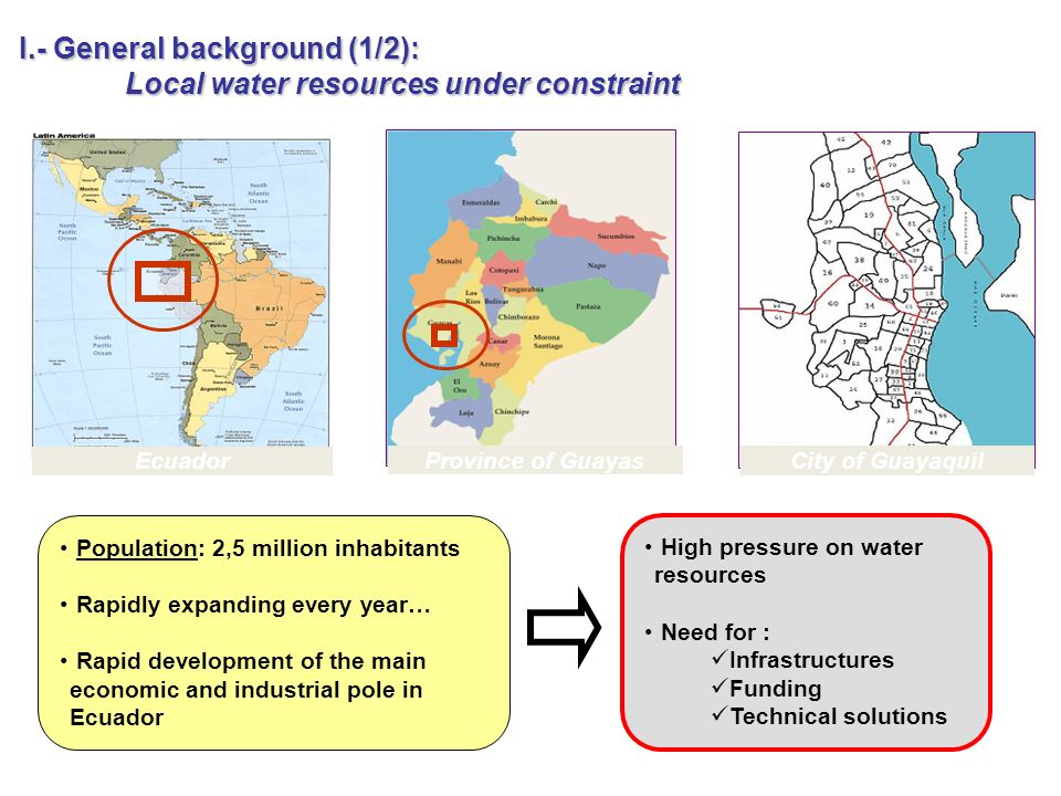 I.- General background (1/2): Local water resources under constraint Ecuador Province of Guayas City of Guayaquil Population: 2,5 million inhabitants