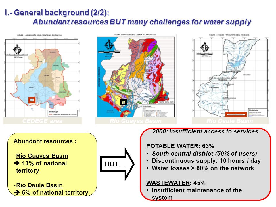 BUT… Río Daule BasinCEDEGE areaRío Guayas Basin Abundant resources : -Río Guayas Basin 13% of national territory -Río Daule Basin 5% of national territory 2000: insufficient access to services POTABLE WATER: 63% South central district (50% of users) Discontinuous supply: 10 hours / day Water losses > 80% on the network WASTEWATER: 45% Insufficient maintenance of the system I.- General background (2/2): Abundant resources BUT many challenges for water supply