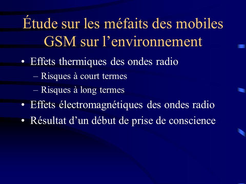 Étude sur les méfaits des mobiles GSM sur lenvironnement Effets thermiques des ondes radio –Risques à court termes –Risques à long termes Effets élect