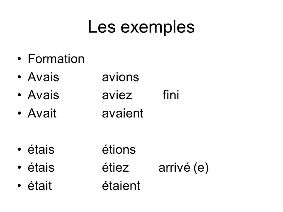 Les exemples Formation Avais avions Avaisaviez fini Avaitavaient étaisétions étaisétiezarrivé (e) étaitétaient