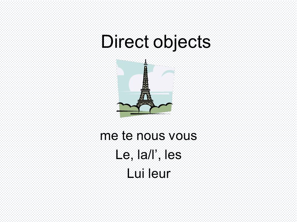 Direct object (a thing) me,te,le, la, les me – to me te- to you le, l – him, it la, l – her, it les - them