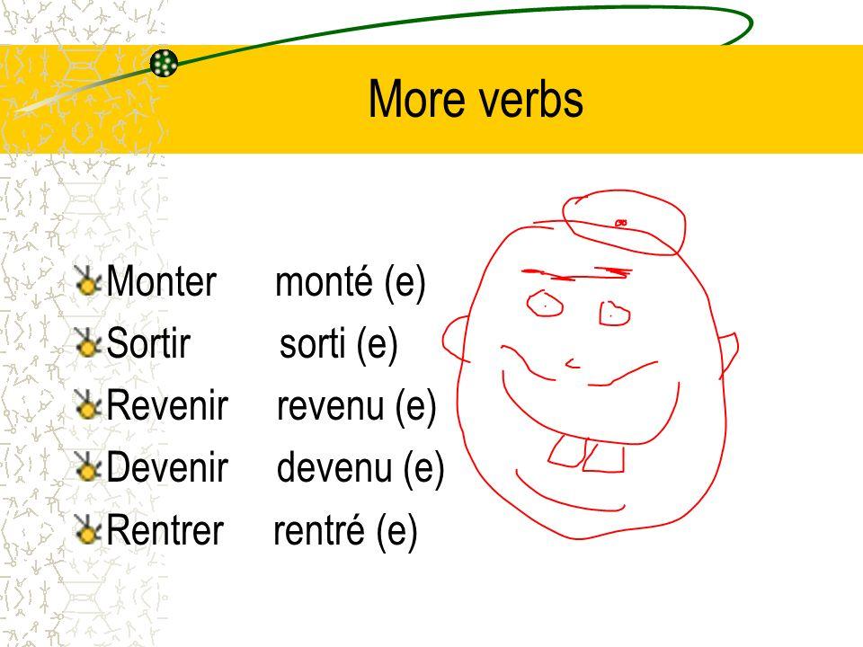 More verbs Monter monté (e) Sortir sorti (e) Revenir revenu (e) Devenir devenu (e) Rentrer rentré (e)