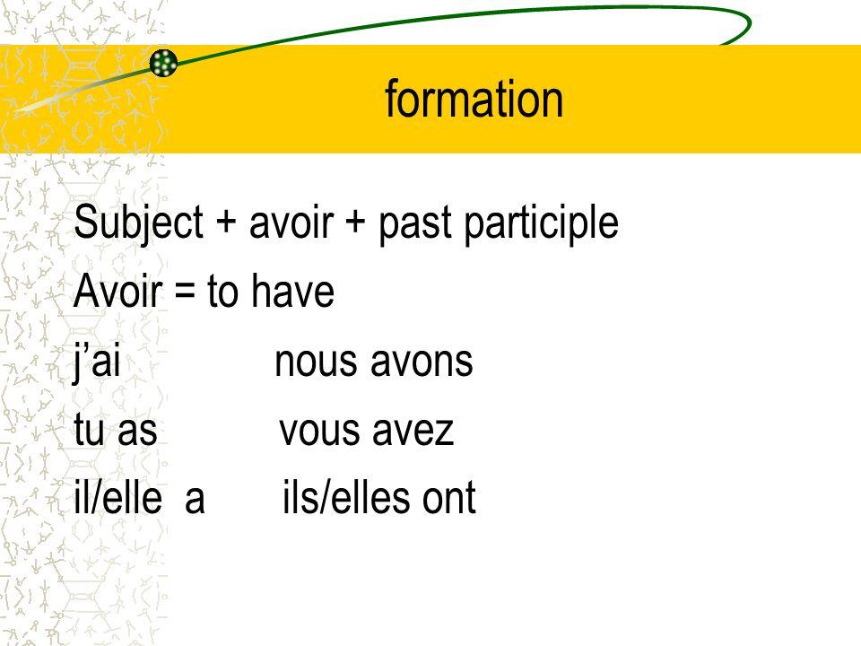 formation Subject + avoir + past participle Avoir = to have jai nous avons tu as vous avez il/elle a ils/elles ont