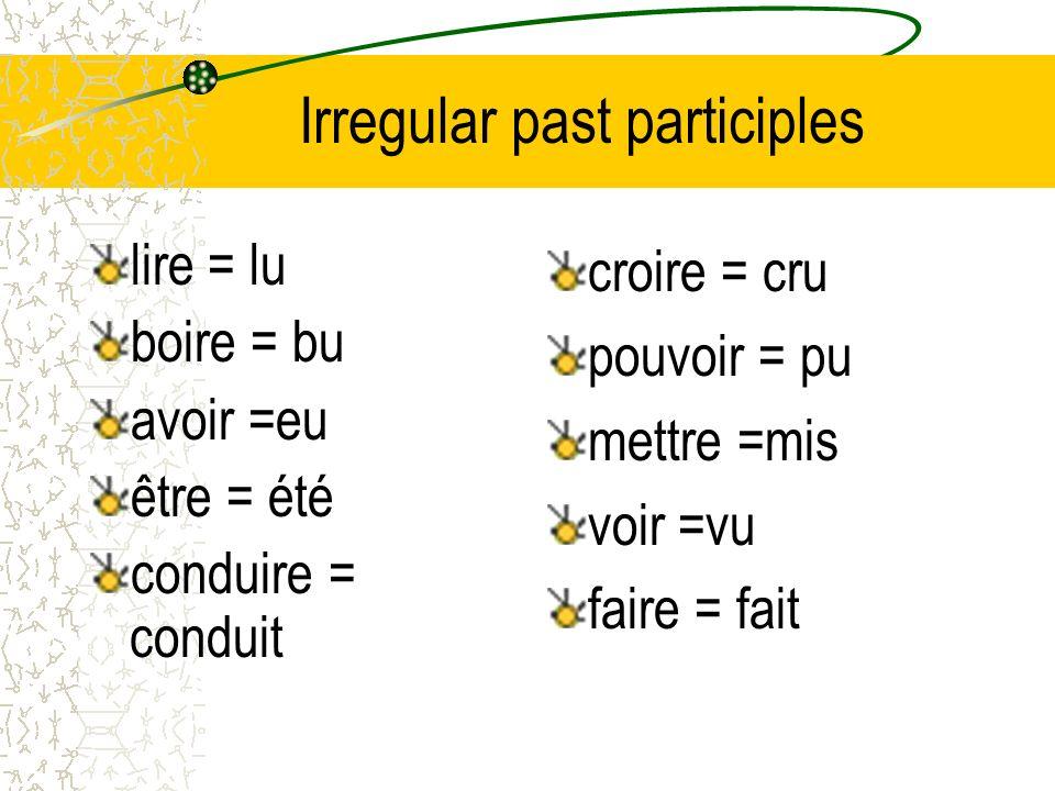 Irregular past participles lire = lu boire = bu avoir =eu être = été conduire = conduit croire = cru pouvoir = pu mettre =mis voir =vu faire = fait