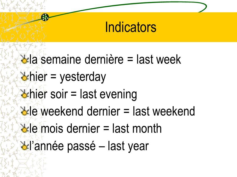 Indicators la semaine dernière = last week hier = yesterday hier soir = last evening le weekend dernier = last weekend le mois dernier = last month la