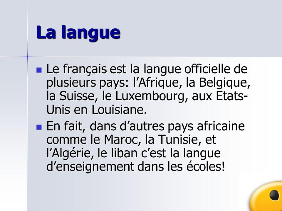 La langue Le français est la langue officielle de plusieurs pays: lAfrique, la Belgique, la Suisse, le Luxembourg, aux Etats- Unis en Louisiane. Le fr