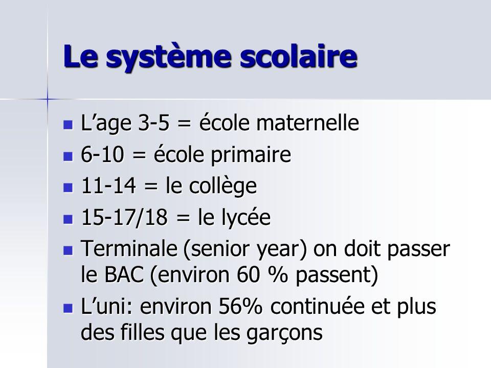Le système scolaire Lage 3-5 = école maternelle Lage 3-5 = école maternelle 6-10 = école primaire 6-10 = école primaire 11-14 = le collège 11-14 = le