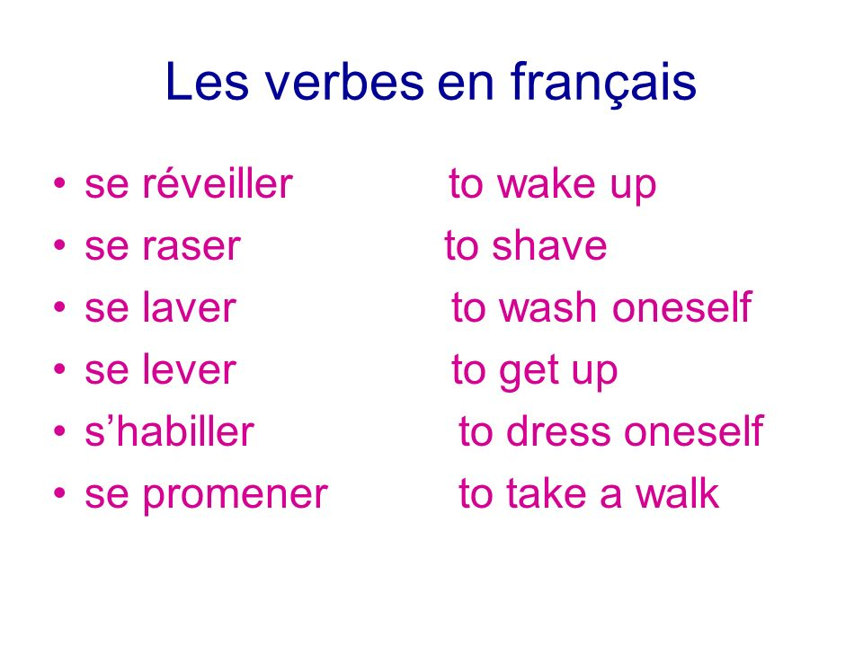 Les verbes en français se réveiller to wake up se raser to shave se laver to wash oneself se lever to get up shabiller to dress oneself se promener to