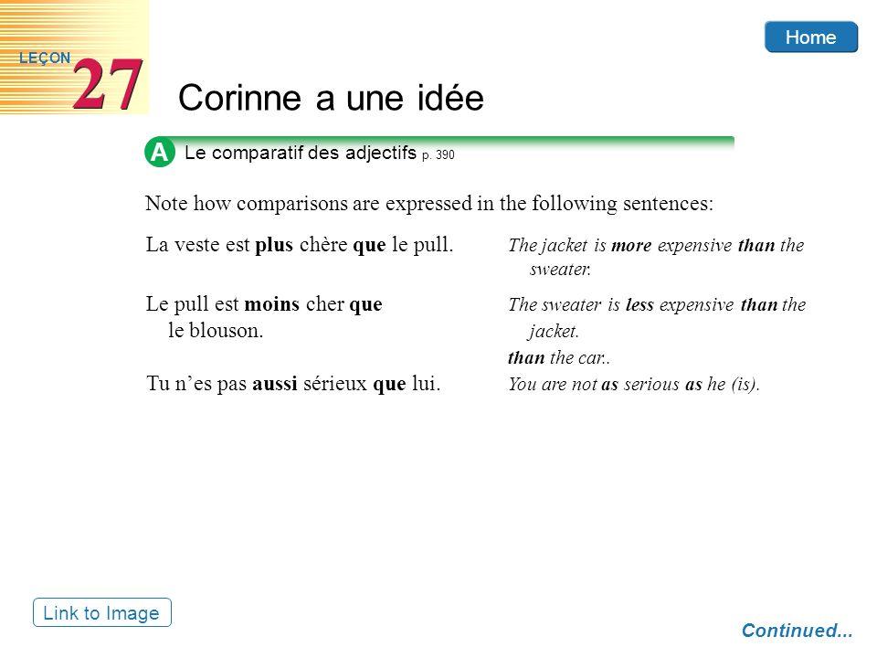 Home Corinne a une idée 27 LEÇON Link to Image A Le comparatif des adjectifs p.