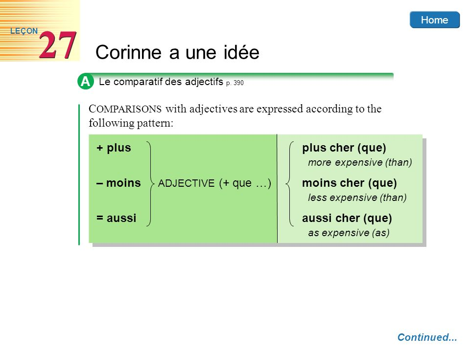 Home Corinne a une idée 27 LEÇON A Le comparatif des adjectifs p. 390 Continued... C OMPARISONS with adjectives are expressed according to the followi
