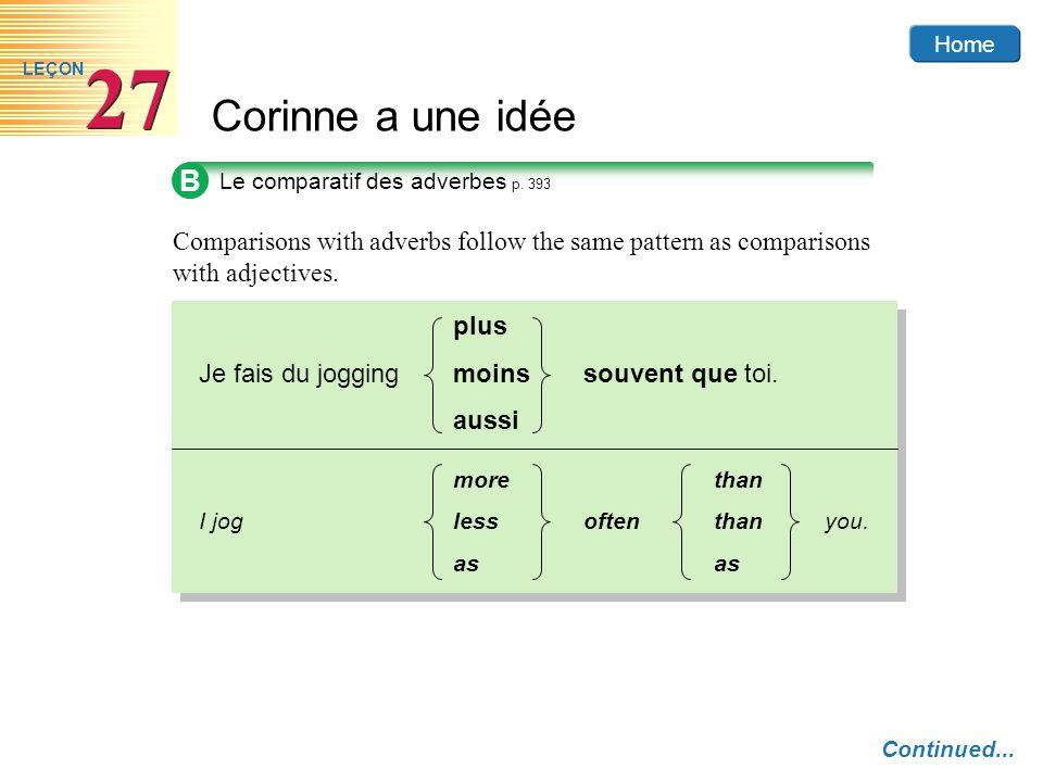 Home Corinne a une idée 27 LEÇON B Le comparatif des adverbes p.