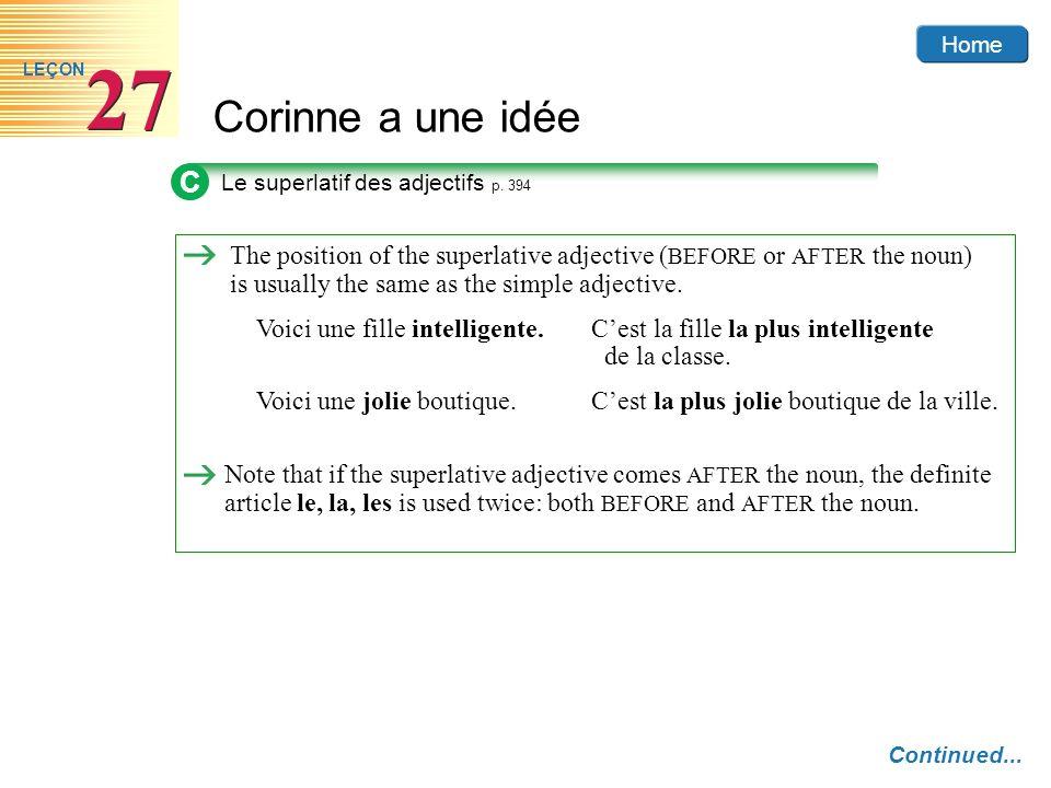 Home Corinne a une idée 27 LEÇON C Le superlatif des adjectifs p.