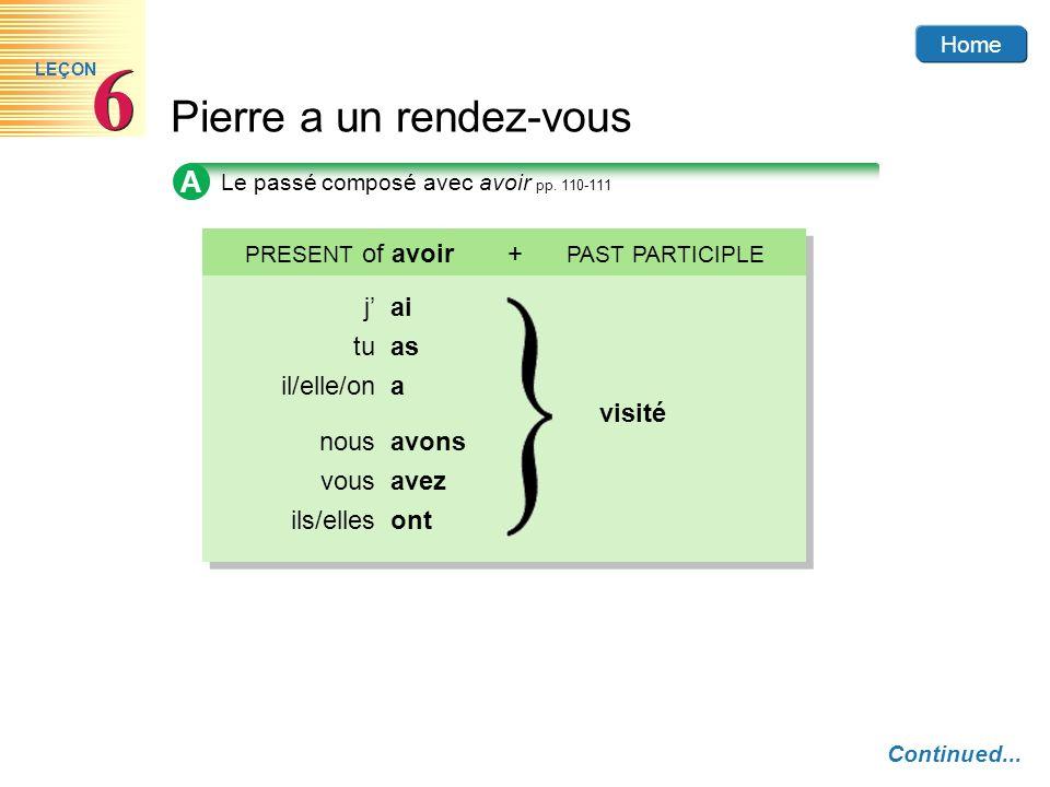 Home Pierre a un rendez-vous 6 6 LEÇON D Les verbes prendre et mettre p.