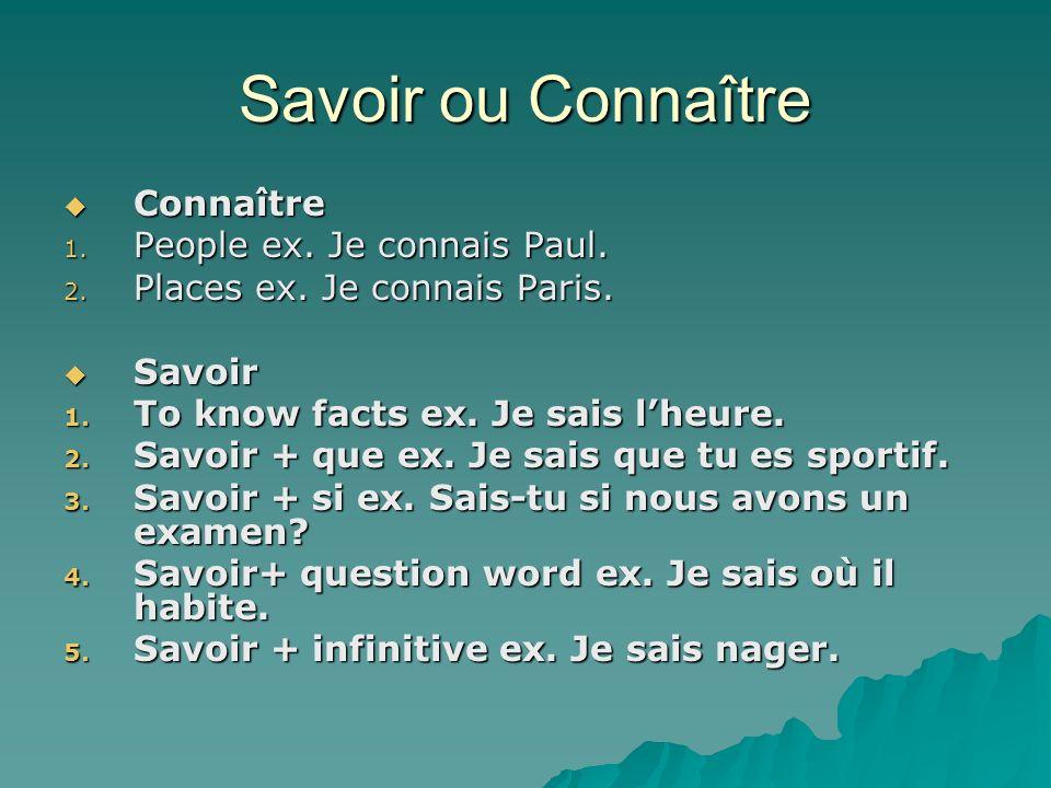 Savoir ou Connaître Connaître Connaître 1. People ex.