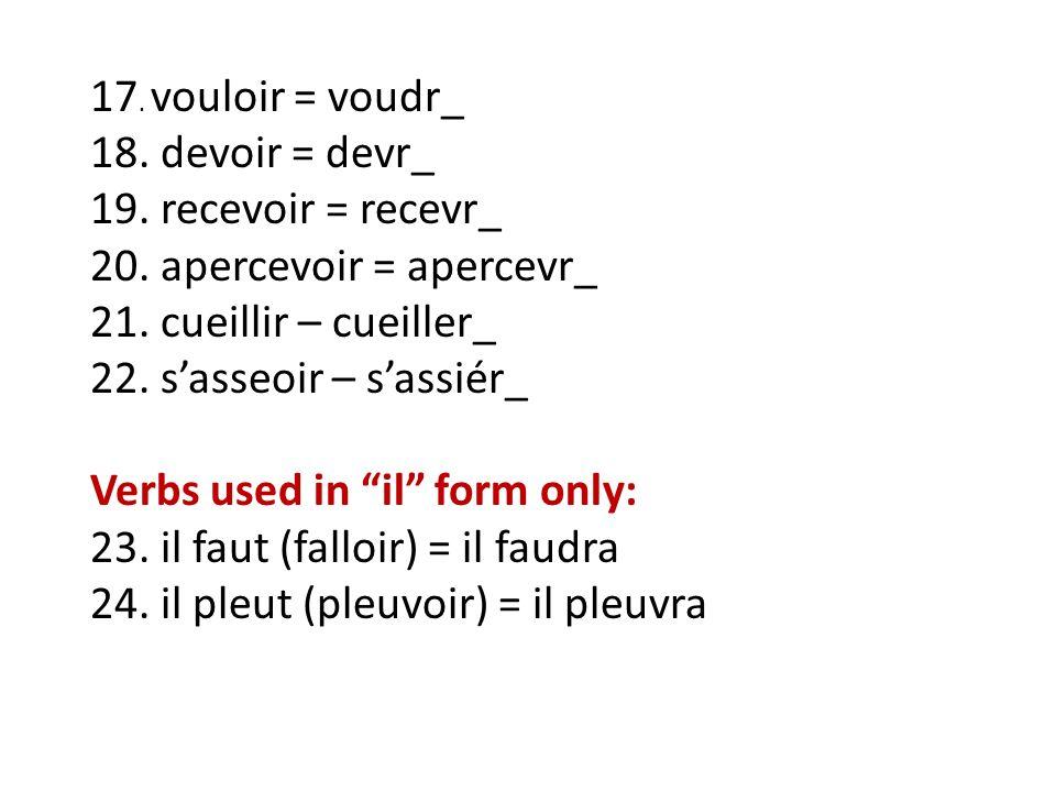 17.vouloir = voudr_ 18. devoir = devr_ 19. recevoir = recevr_ 20.