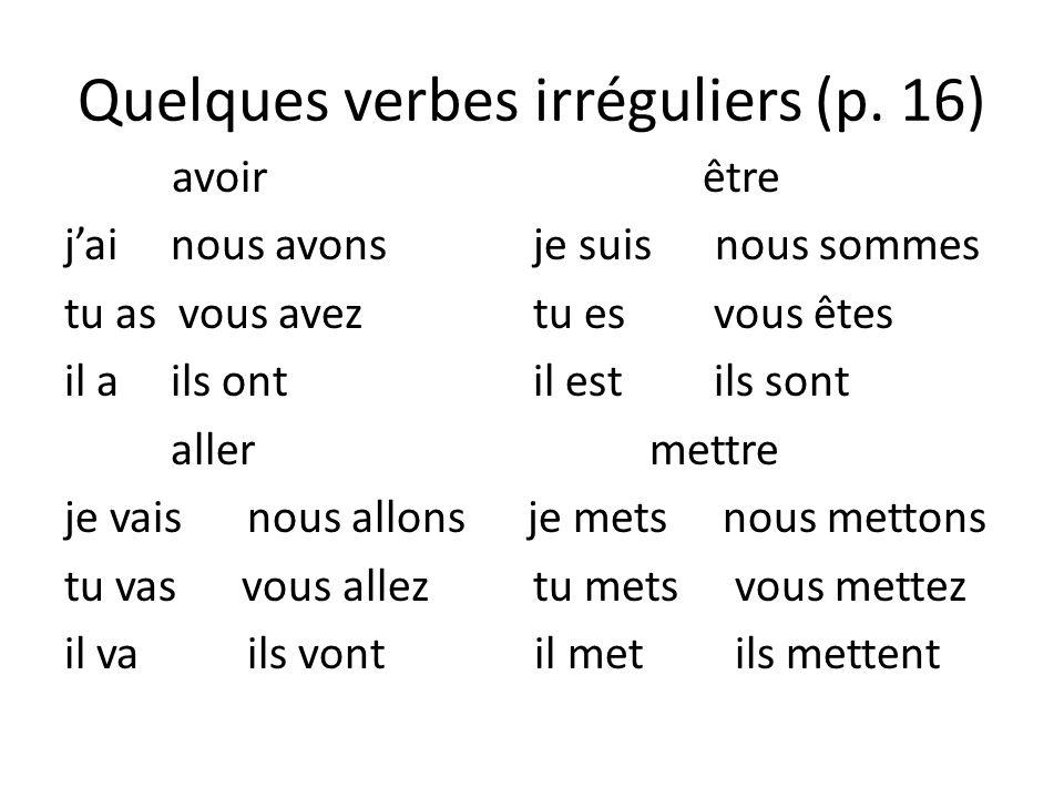 Quelques verbes irréguliers (p.