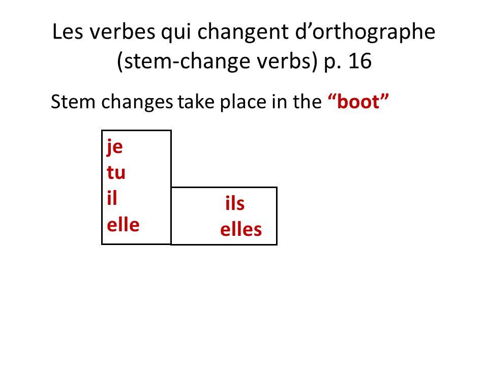 Les verbes qui changent dorthographe (stem-change verbs) p.