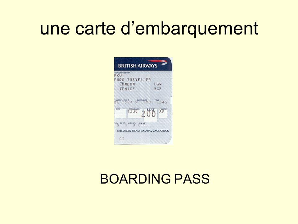 une carte dembarquement BOARDING PASS