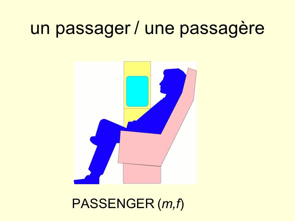 un passager / une passagère PASSENGER (m,f)