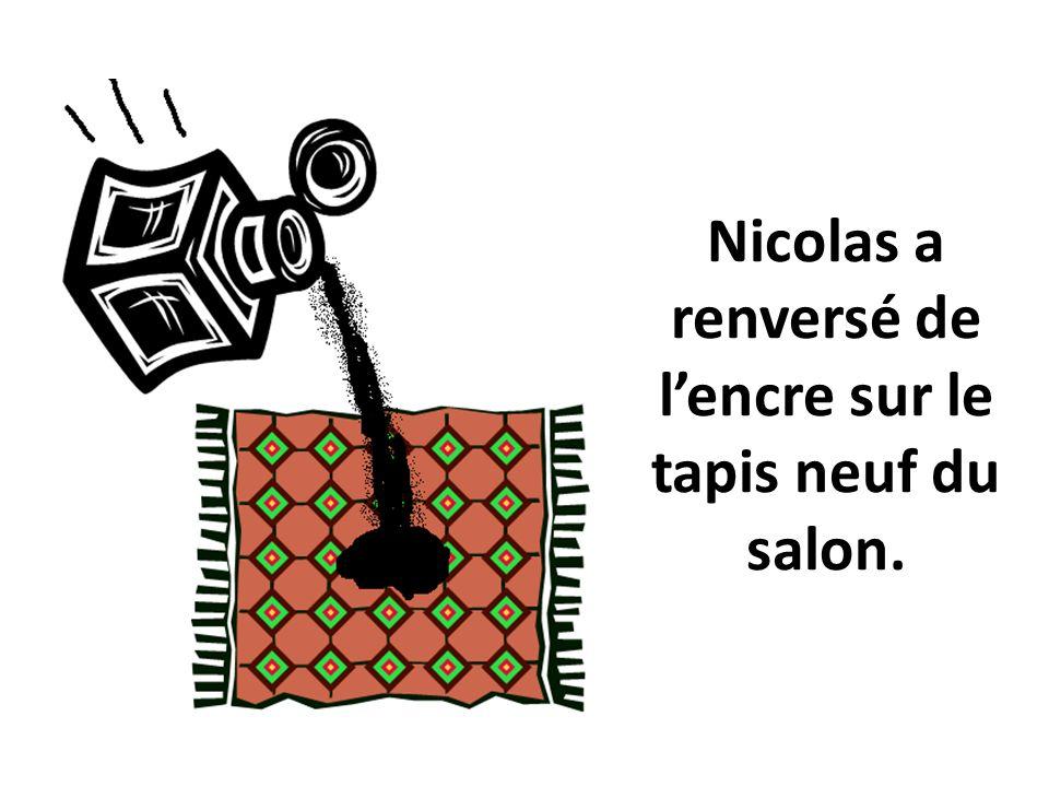 Nicolas a renversé de lencre sur le tapis neuf du salon.