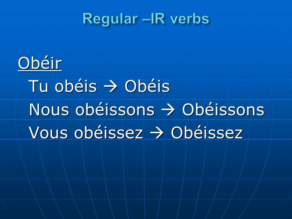 Obéir Tu obéis Obéis Nous obéissons Obéissons Vous obéissez Obéissez