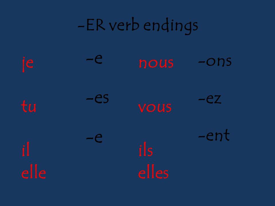 -ER verb endings -e -es -e -ons -ez -ent je tu il elle nous vous ils elles