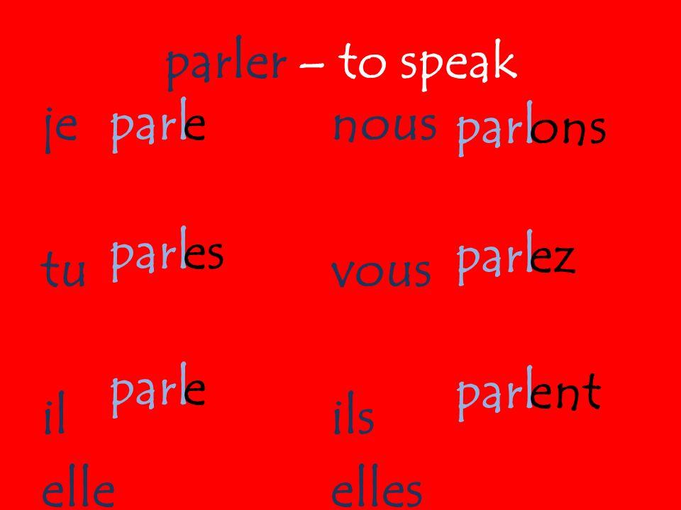 parler – to speak je tu il elle nous vous ils elles parl parl parl parl parl parl e es e ons ez ent