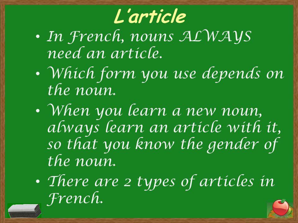 RÉVISION: LES ARTICLES Lartcicle indéfini Larticle défini