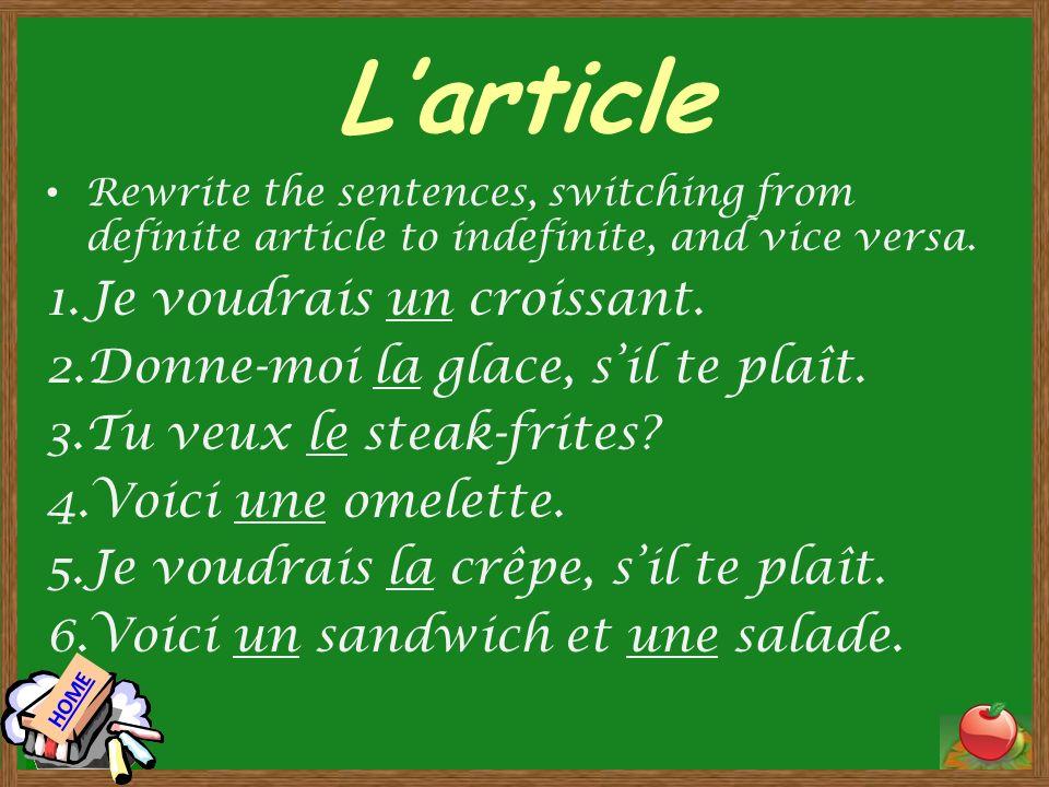Larticle larticle indéfini masculine singular – un un croissant un sandwich feminine singular – une une glace une crêpe larticle défini masculine singular – le le croissant le sandwich feminine singular – la la glace la crêpe singular, vowel –l–l lomelette