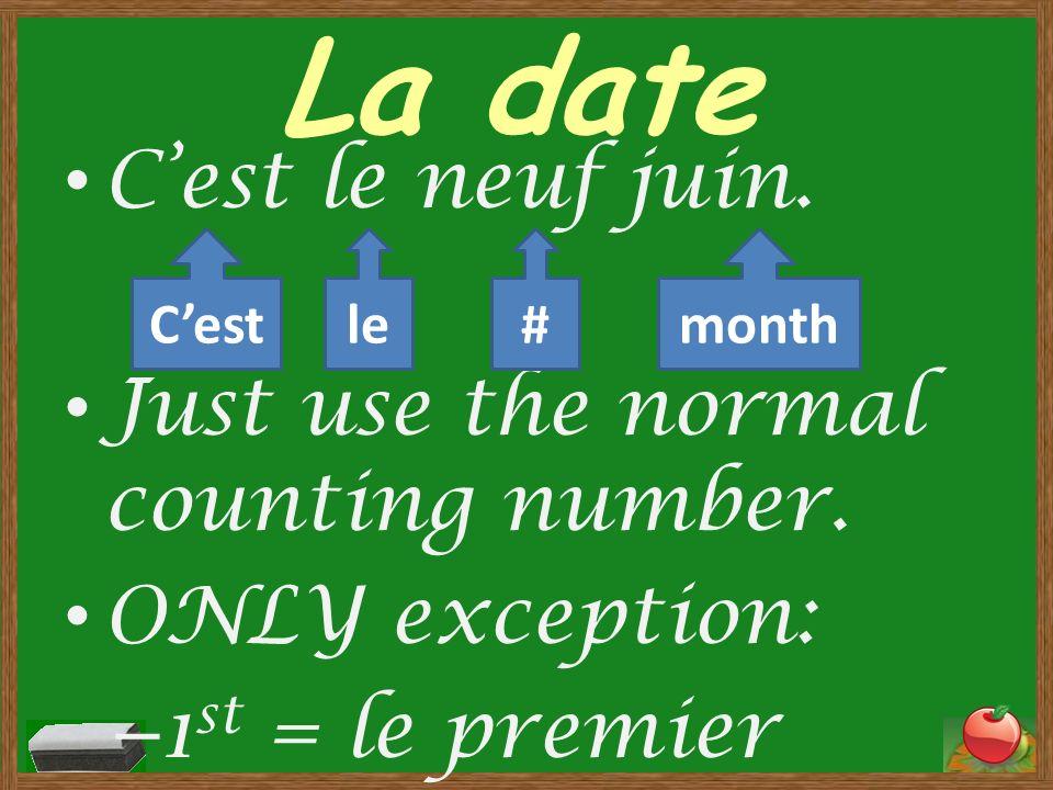 La date Quelle est la date? Cest le vingt mai. Cestle#month