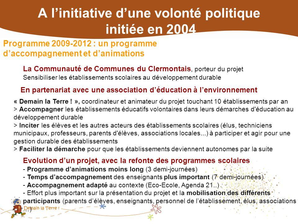 Programme 2009-2012 : un programme daccompagnement et danimations Evolution dun projet, avec la refonte des programmes scolaires - Programme danimatio