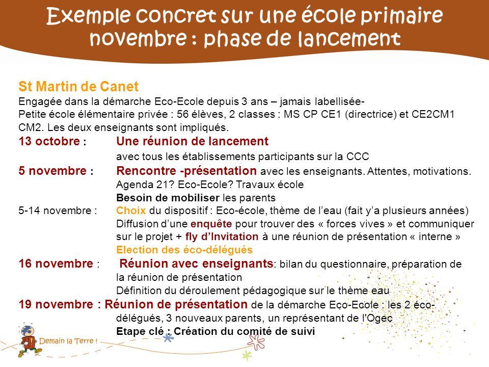 Exemple concret sur une école primaire novembre : phase de lancement St Martin de Canet Engagée dans la démarche Eco-Ecole depuis 3 ans – jamais label