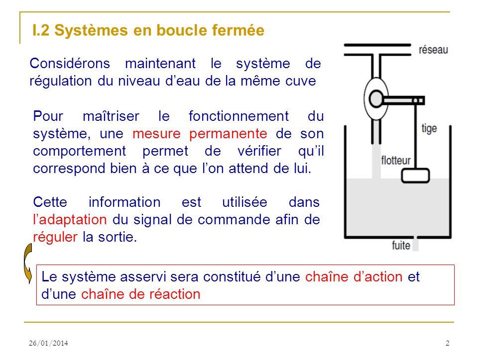 26/01/20142 I.2 Systèmes en boucle fermée Considérons maintenant le système de régulation du niveau deau de la même cuve Pour maîtriser le fonctionnem
