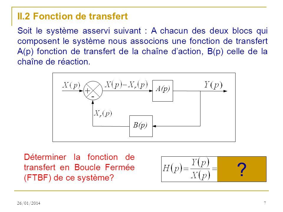 26/01/20147 II.2 Fonction de transfert Soit le système asservi suivant : A chacun des deux blocs qui composent le système nous associons une fonction