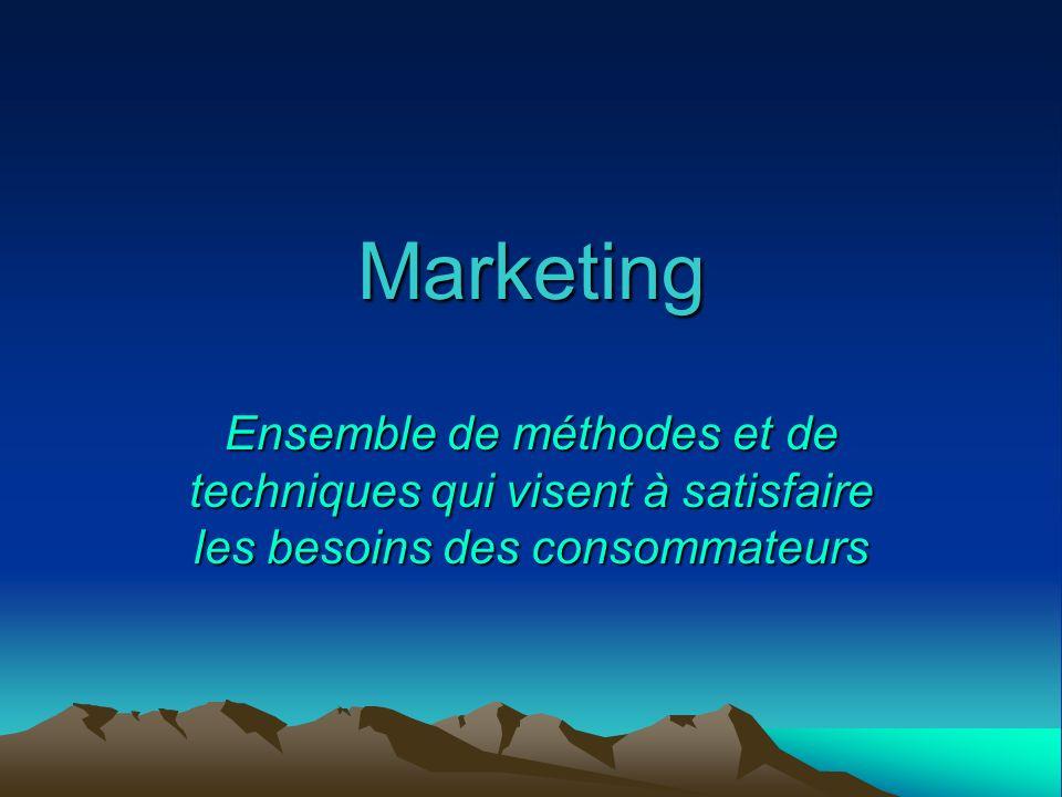 Marketing Ensemble de méthodes et de techniques qui visent à satisfaire les besoins des consommateurs