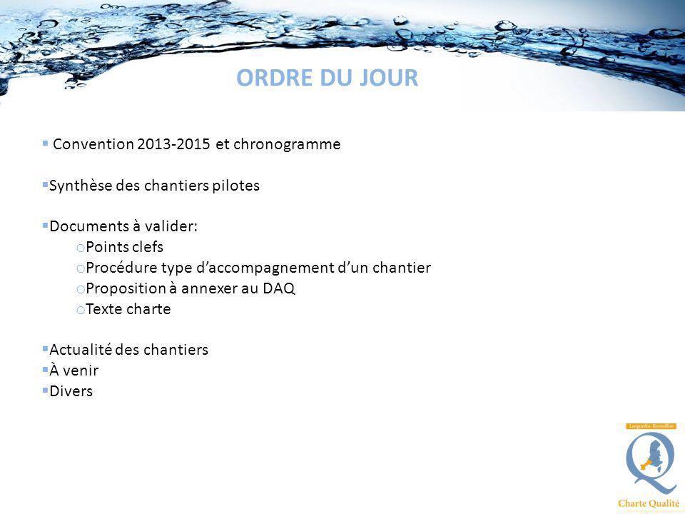Convention 2013-2015 et chronogramme Synthèse des chantiers pilotes Documents à valider: o Points clefs o Procédure type daccompagnement dun chantier